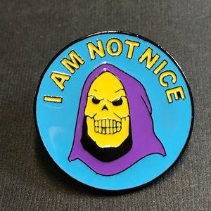 """I Am Not Nice"" Skull Enamel Pin Backpack Pin"